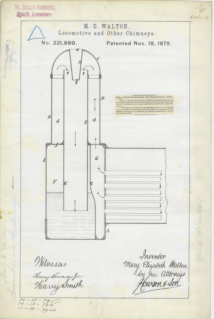 Patent Drawing for M. E. Walton's Locomotive and Other Chimneys