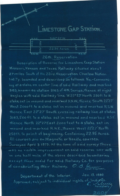 Missouri, Kansas, and Texas Railway, Depot Reserve in the Indian Territory, Limestone Station, 26th Reservation