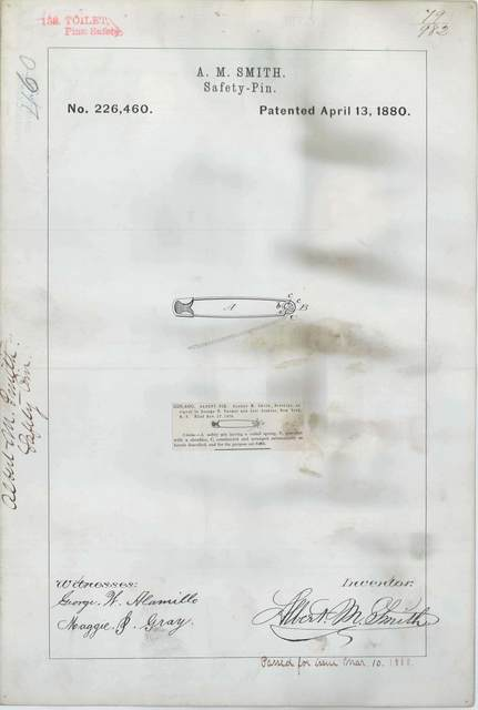 Patent Drawing for A. M. Smith's Safety Pin