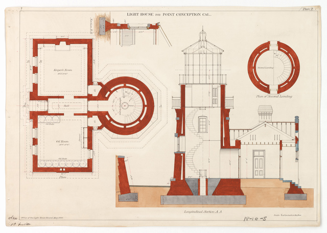 Section, Plan and Detail Drawing for the Lighthouse at Point Conception, California
