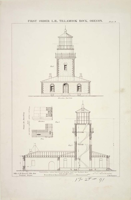 Elevation and Section of First Order Lighthouse at Tillamook Rock, Oregon