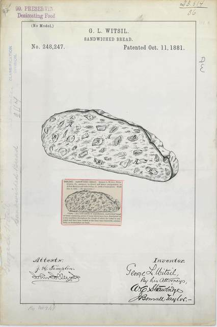 Patent Drawing for G. L. Witsil's Sandwiched Bread