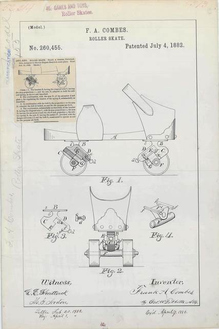 Patent Drawing for F. A. Combes' Roller Skate