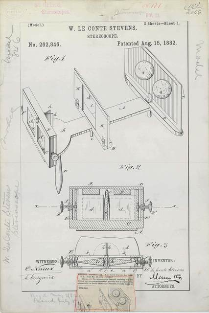 Patent Drawing for W. Le Conte Stevens' Stereoscope