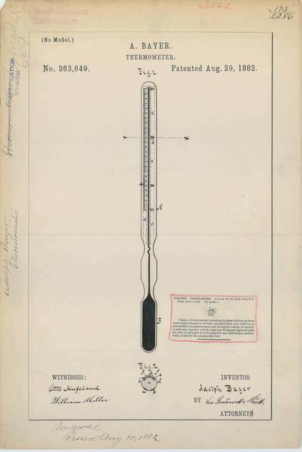 Patent Drawing for A. Bayer's Thermometer
