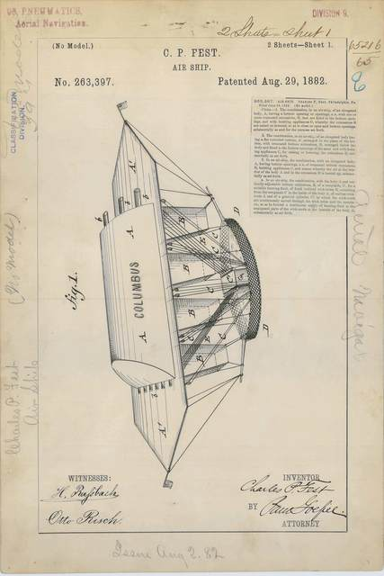 Patent Drawing for C. P. Fest's Air Ship