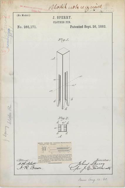 Patent Drawing for J. Sperry's Clothes Pin