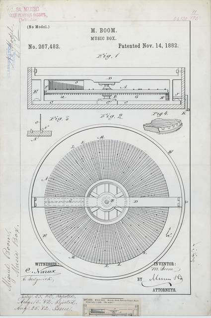 Patent Drawing for M. Boom's Music Box