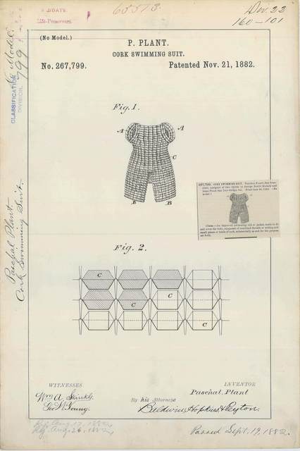 Patent Drawing for P. Plant's Cork Swimming Suit