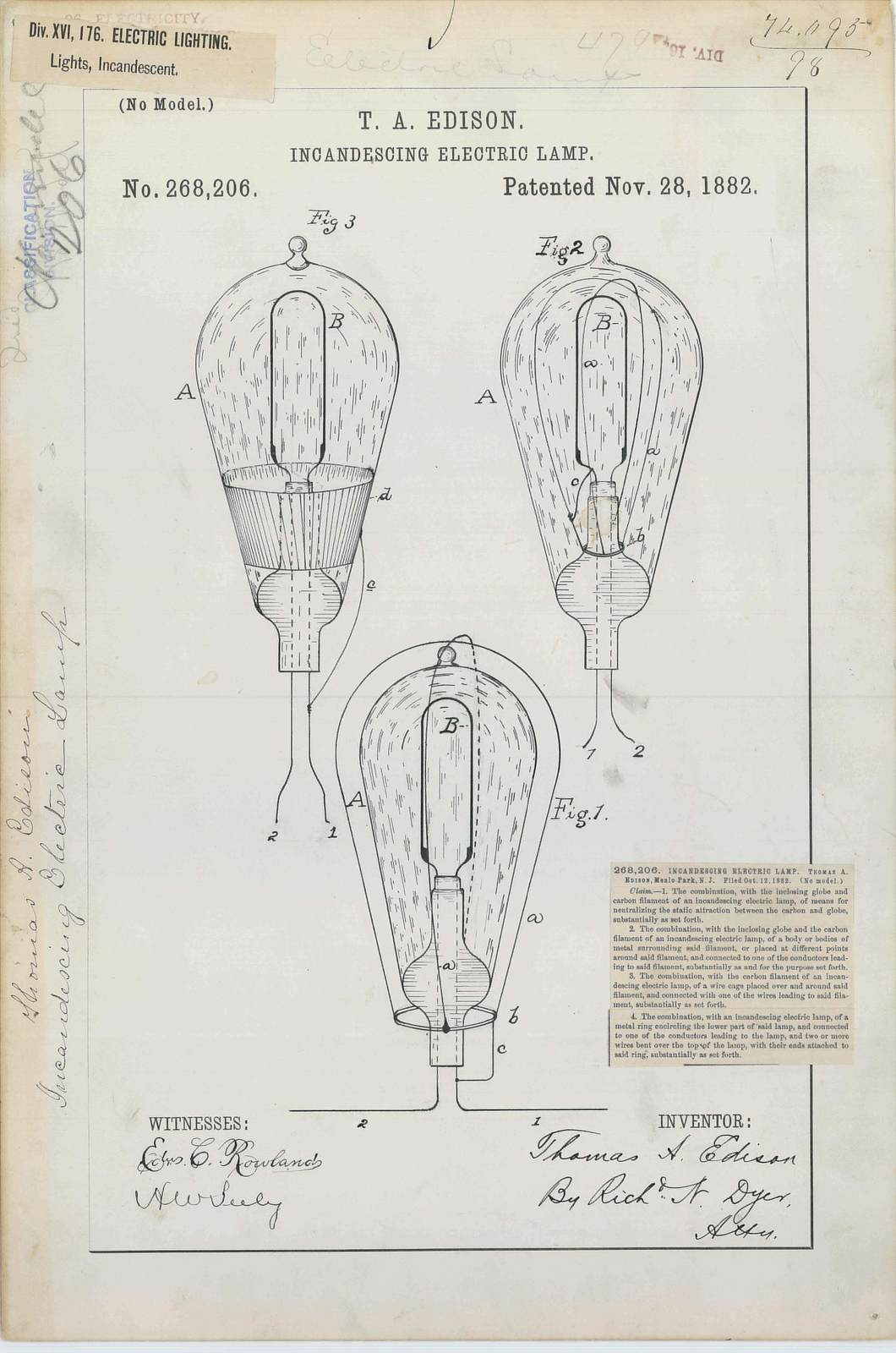 Patent Drawing for T. A. Edison's Incandescing Electric Lamp