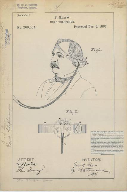 Patent Drawing for F. Shaw's Head Telephone