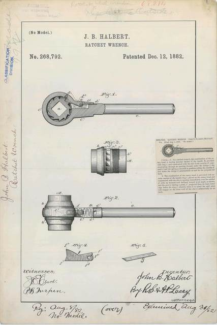 Patent Drawing for J. B. Halbert's Ratchet Wrench