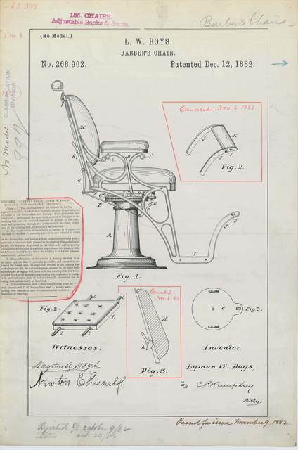Patent Drawing for L. W. Boys' Barber's Chair