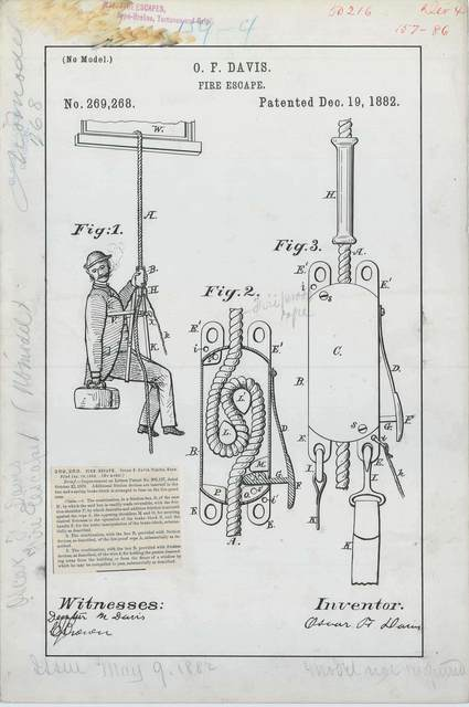 Patent Drawing for O. F. Davis' Fire Escape