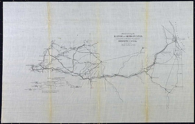 Sketch showing the Illinois and Michigan canal and the different routes of the proposed Hennepin Canal