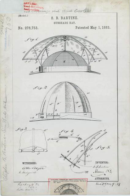 Patent Drawing for S. B. Bartine's Sunshade Hat