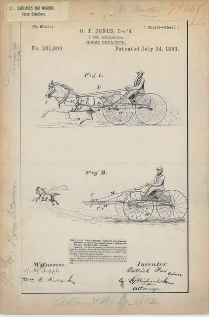 Patent Drawing for O. T. Jones' Horse Detacher