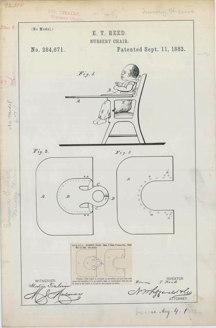 Patent Drawing for E. T. Reed's Nursery Chair