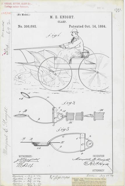 Patent Drawing for M. E. Knight's Clasp