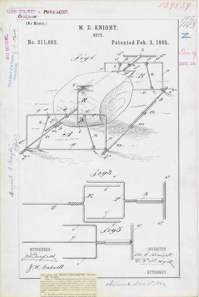 Patent Drawing for M. E. Knight's Spit