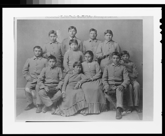 Photograph of Chiracahua Apache Indians After Training at the Carlisle Indian School