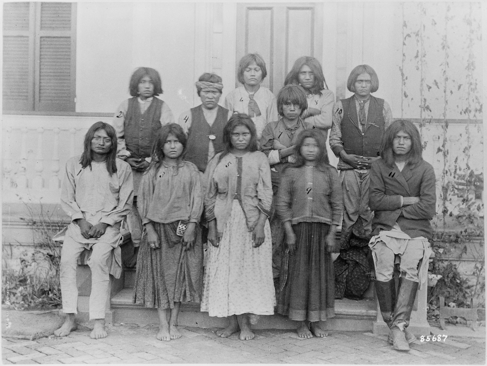 Photograph of Chiracahua Apaches Arriving at the Carlisle Indian School