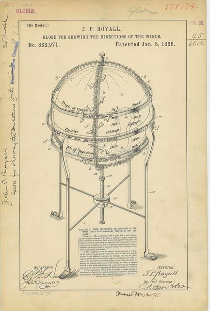 Drawing of a Globe for Showing Direction of the Winds
