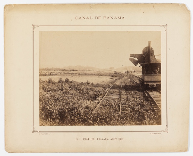 State of Work on the French Construction of the Panama Canal Showing Rail Transport Car on Tracks