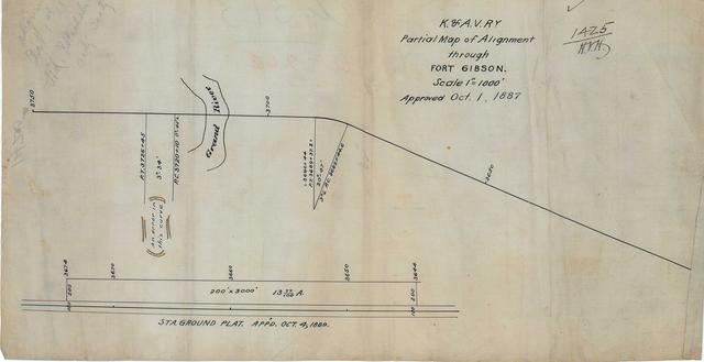 K .and A. V. Railway Partial Alignment Through Fort Gibson