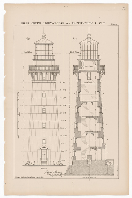 Section and Elevation Drawing for the Lighthouse at Destruction Island, Washington