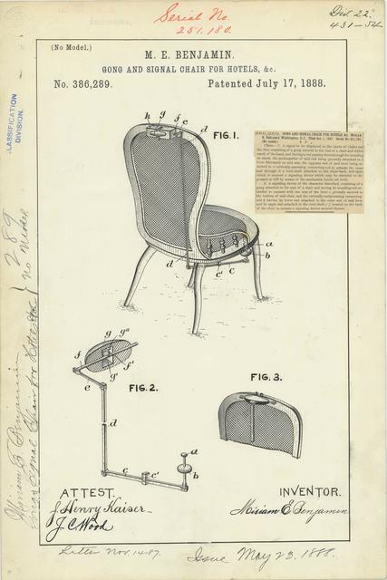 Patent Drawing for M. E. Benjamin's Gong and Signal Chair for Hotels