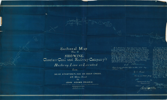 Sectional Map No. 9  Showing Choctaw Coal and Railway Company's Railway Line as Located from Near Station Place on Deer Creek Twenty Five Miles East to John Adams Prairie