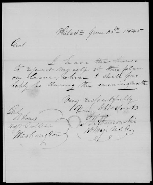 Abercrombie, J I - State: District of Columbia - Year: 1845 - File Number: A91