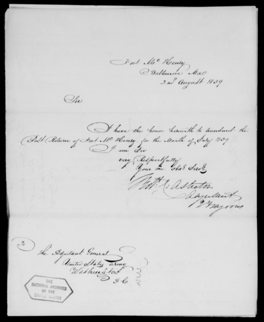 Ashton, W H - State: Maryland - Year: 1839 - File Number: A158