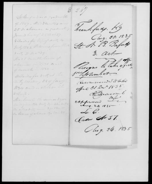 Baford, N B - State: Kentucky - Year: 1835 - File Number: B267