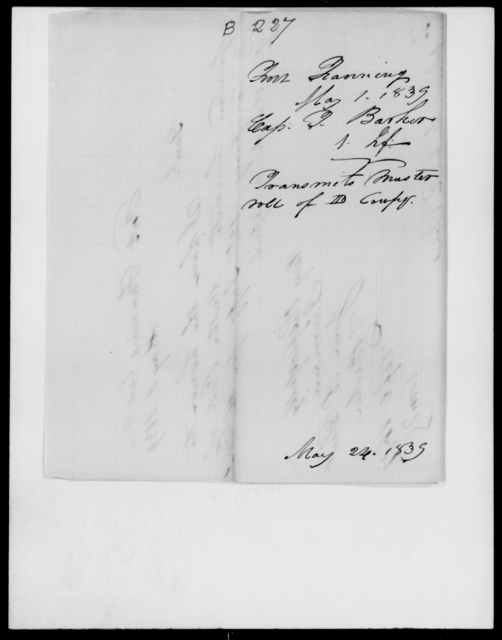 Barker, T - State: Florida - Year: 1839 - File Number: B227