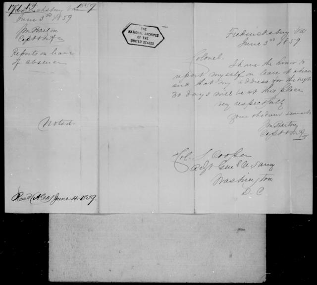 Barton, J M - State: Virginia - Year: 1859 - File Number: B171