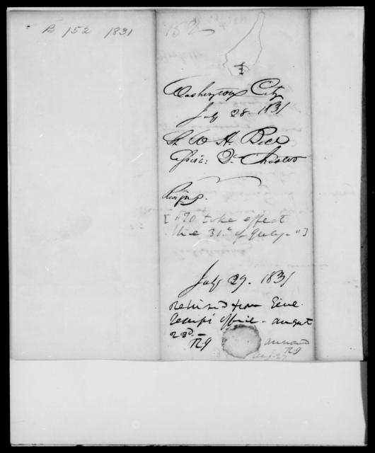 Bell, W H - State: Washington - Year: 1831 - File Number: B152