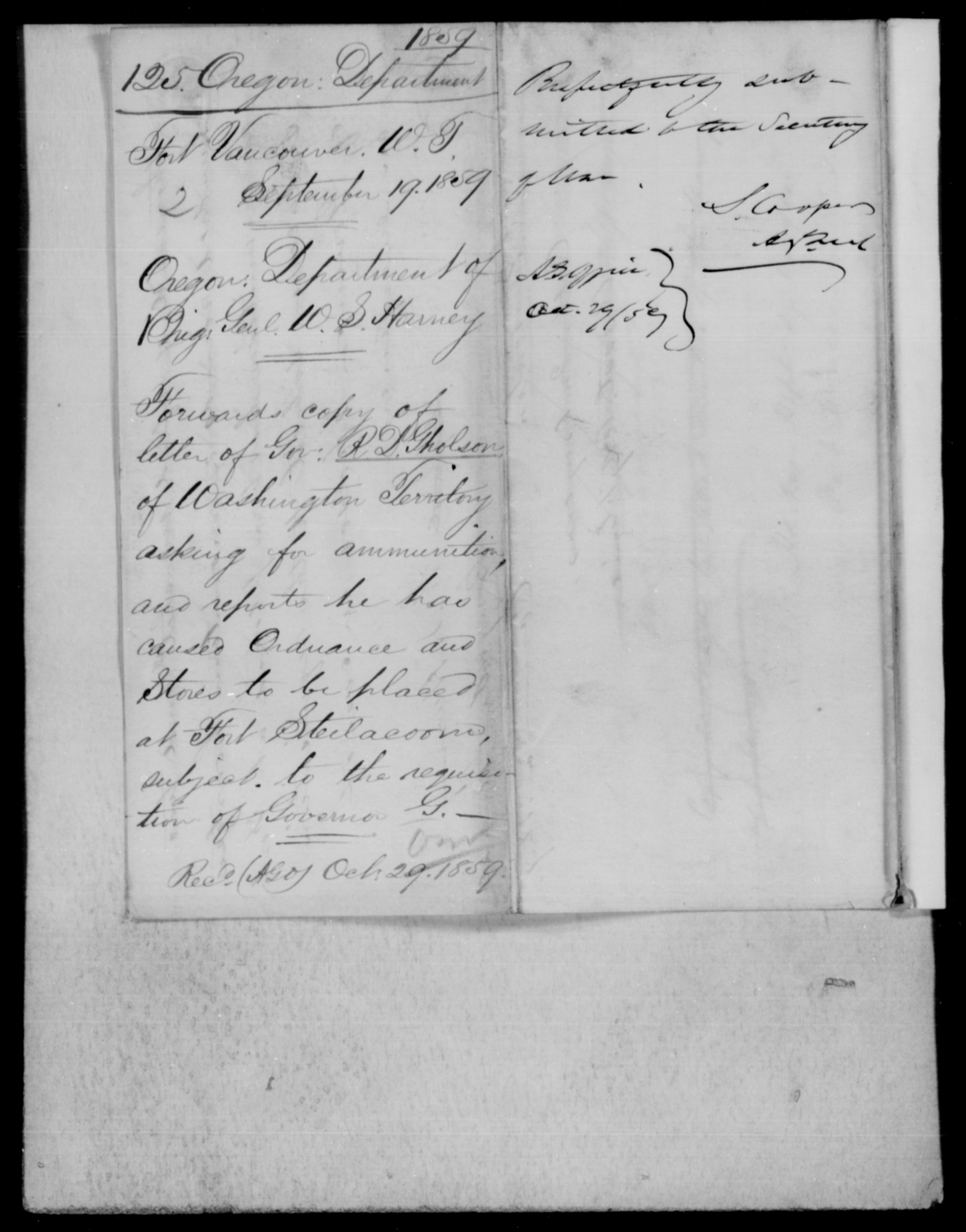 [Blank], [Blank] - State: Oregon - Year: 1859 - File Number: O125