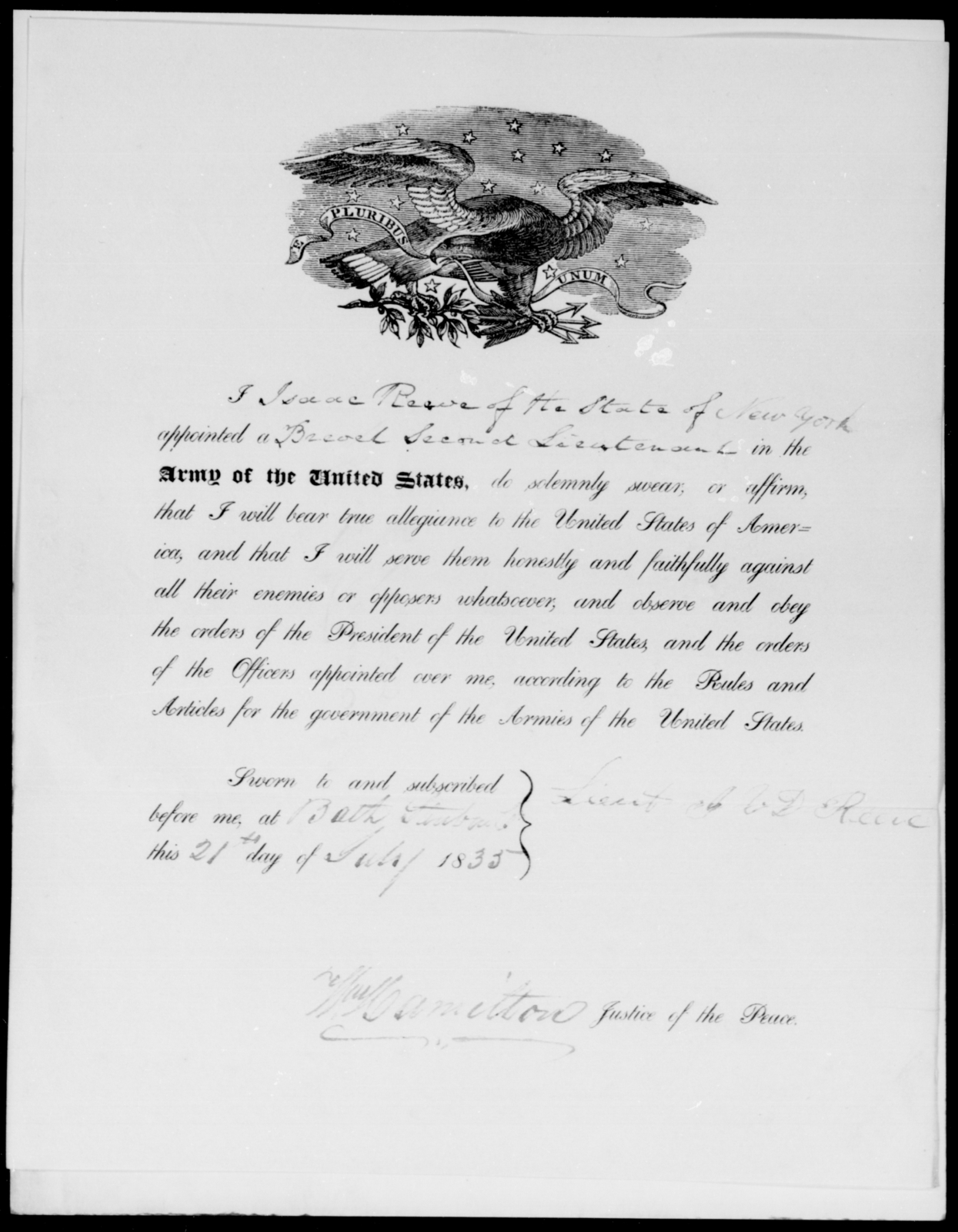 [Blank], Isaac Reeve - State: New York - Year: 1835 - File Number: R73