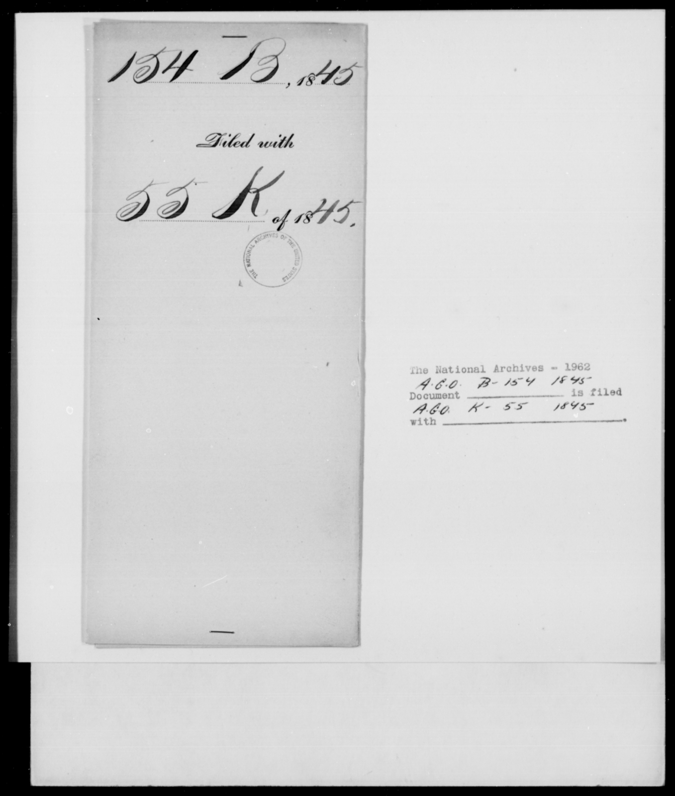 [Blank], J - State: New York - Year: 1845 - File Number: B154