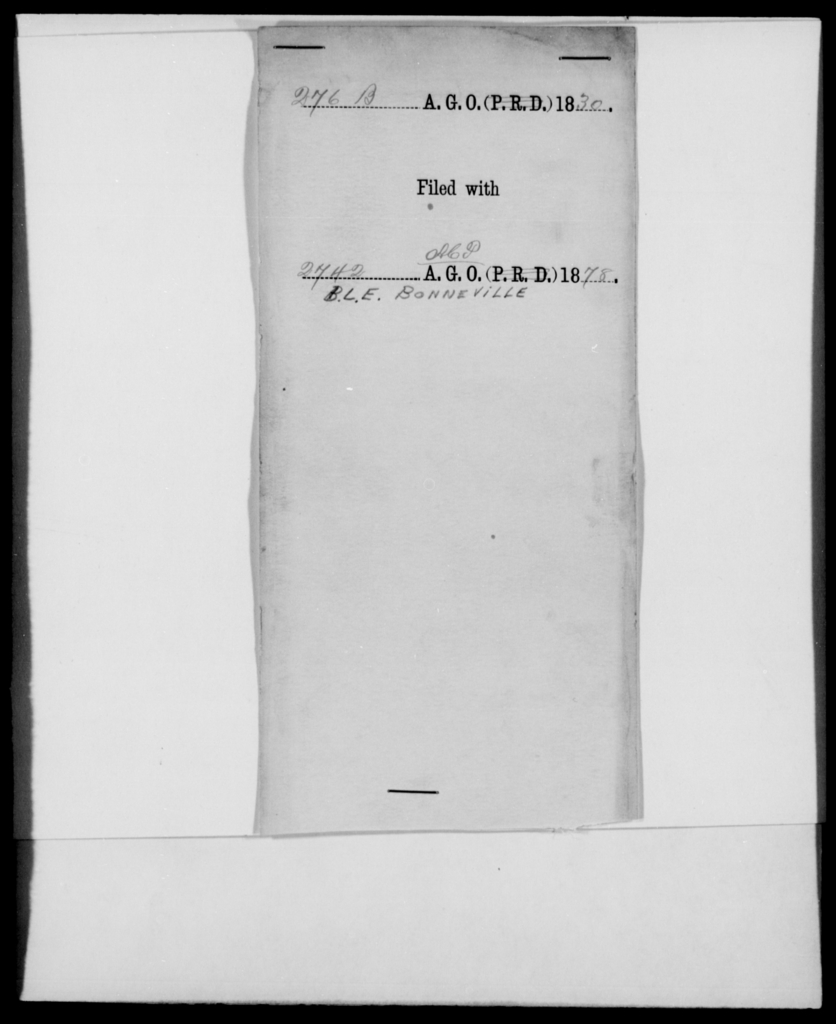 Bonneville, B L E - State: [Blank] - Year: 1830 - File Number: B276