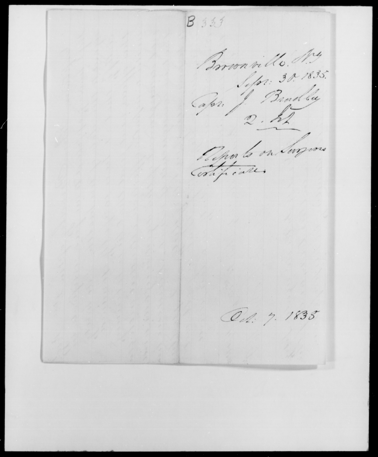 Bradley, J - State: New York - Year: 1835 - File Number: B333