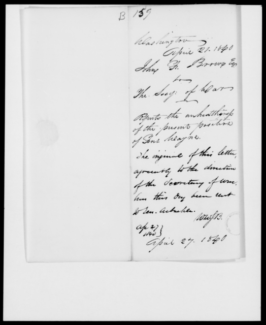 Brown, John F - State: District of Columbia - Year: 1840 - File Number: B159