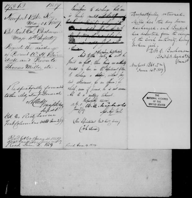Buchanan, Robt C - State: Kentucky - Year: 1859 - File Number: B173