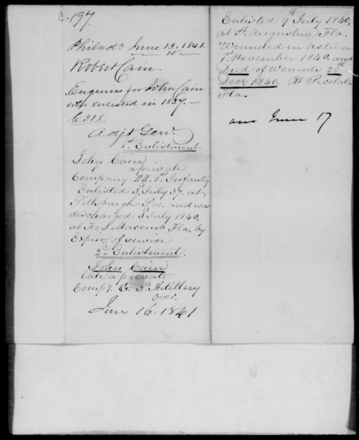 Cain, Robert - State: [Blank] - Year: 1841 - File Number: C197