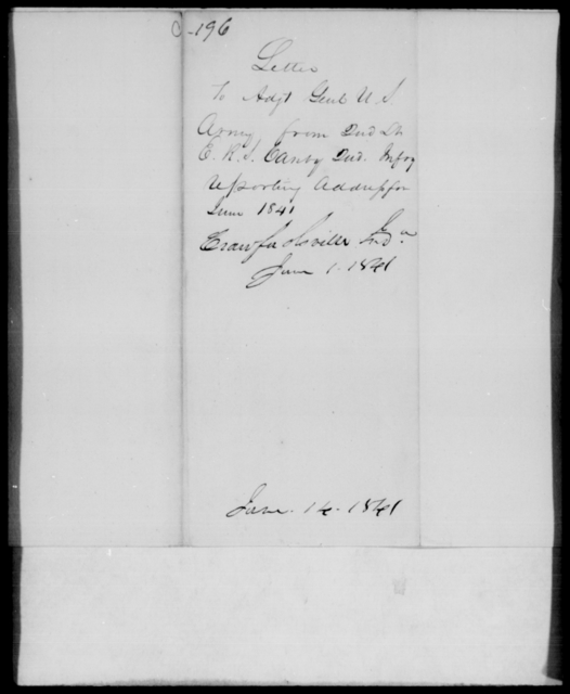 Canby, E R J - State: [Blank] - Year: 1841 - File Number: C196