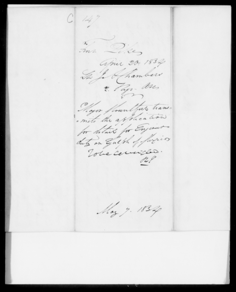 Chambers, J S - State: New York - Year: 1834 - File Number: C147