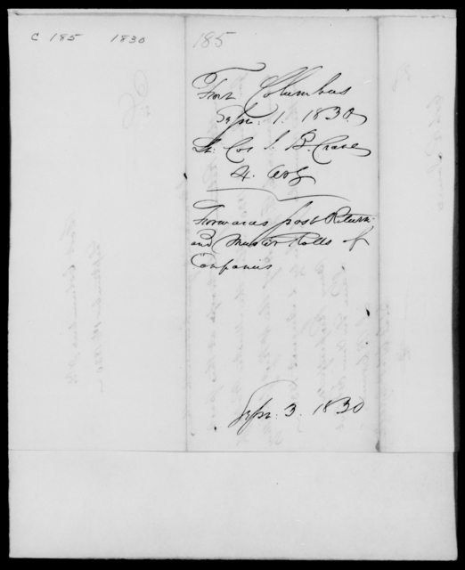 Crane, J B - State: [Blank] - Year: 1830 - File Number: C185