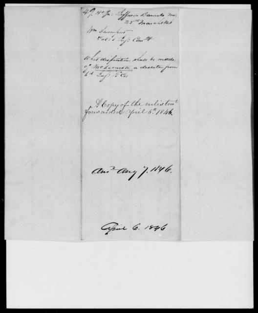 Davenport, Wm - State: Missouri - Year: 1846 - File Number: D49